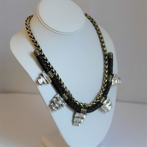 Auden Black/Gold Crystal & Leather Necklace